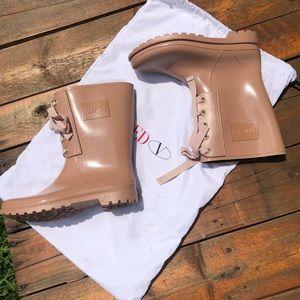 RED Valentino shiny lace up rain boots